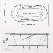 Схема ванны Rio AGATA 150х75х65