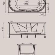 Схема ванны Rio ONDO 150х75х63