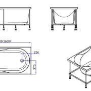 Схема ванны Rio SEVILLA 160х75х63