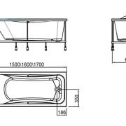 Схема ванны Rio del ORO 150х70х64