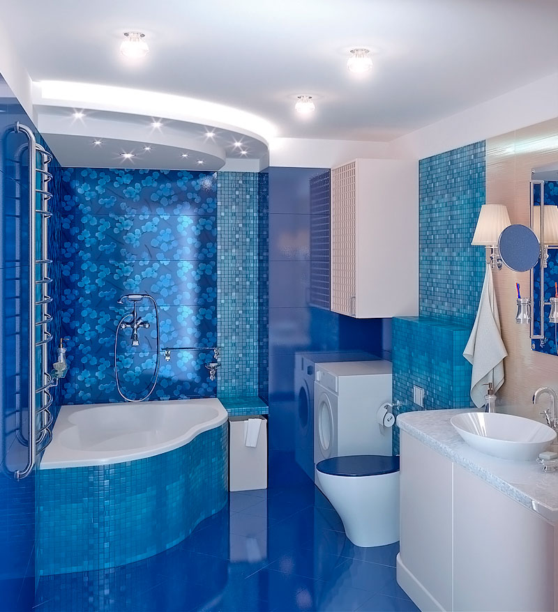 Голубой дизайн ванной комнаты